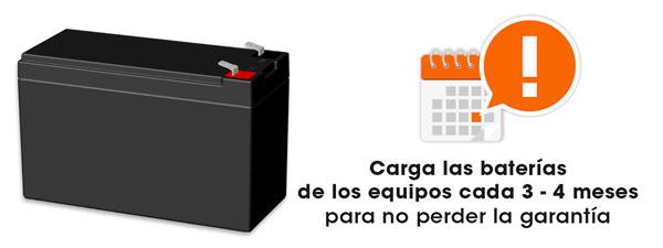 carga tus baterías cada 3 o 4 meses